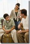 teen talking to parent